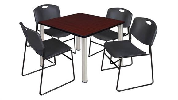 "Cafeteria Tables Regency Furniture 42"" Square Breakroom Table- Mahogany/ Chrome & 4 Zeng Stack Chairs"