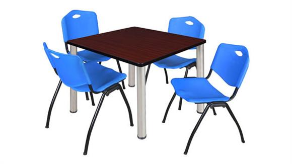 "Cafeteria Tables Regency Furniture 42"" Square Breakroom Table- Mahogany/ Chrome & 4"