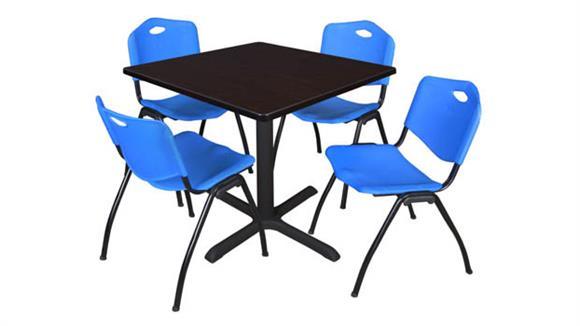 "Cafeteria Tables Regency Furniture 42"" Square Breakroom Table- Mocha Walnut & 4"
