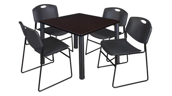 "Cafeteria Tables Regency Furniture 42"" Square Breakroom Table- Mocha Walnut/ Black & 4 Zeng Stack Chairs"