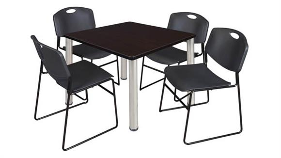 "Cafeteria Tables Regency Furniture 42"" Square Breakroom Table- Mocha Walnut/ Chrome & 4 Zeng Stack Chairs"
