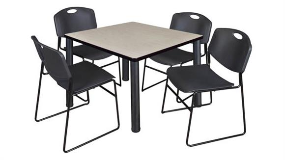 "Cafeteria Tables Regency Furniture 42"" Square Breakroom Table- Maple/ Black & 4 Zeng Stack Chairs"