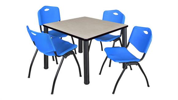 "Cafeteria Tables Regency Furniture 42"" Square Breakroom Table- Maple/ Black & 4"