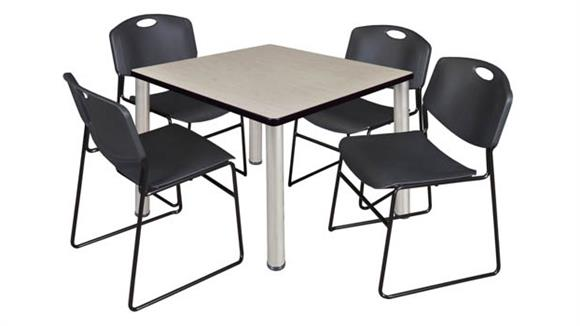 "Cafeteria Tables Regency Furniture 42"" Square Breakroom Table- Maple/ Chrome & 4 Zeng Stack Chairs"