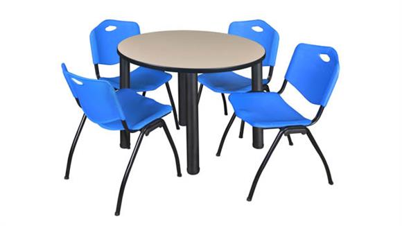 "Cafeteria Tables Regency Furniture 42"" Round Breakroom Table- Beige/ Black & 4"