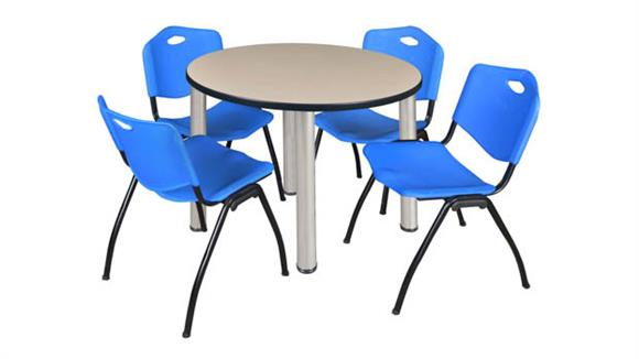 "Cafeteria Tables Regency Furniture 42"" Round Breakroom Table- Beige/ Chrome & 4"