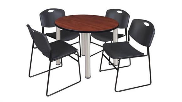 "Cafeteria Tables Regency Furniture 42"" Round Breakroom Table- Cherry/ Chrome & 4 Zeng Stack Chairs"