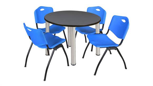 "Cafeteria Tables Regency Furniture 42"" Round Breakroom Table- Gray/ Chrome & 4"
