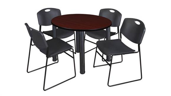 "Cafeteria Tables Regency Furniture 42"" Round Breakroom Table- Mahogany/ Black & 4 Zeng Stack Chairs"