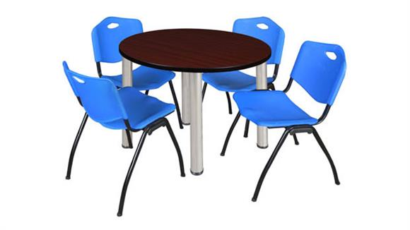 "Cafeteria Tables Regency Furniture 42"" Round Breakroom Table- Mahogany/ Chrome & 4"