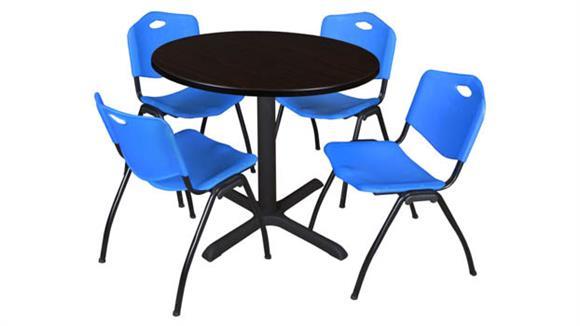 "Cafeteria Tables Regency Furniture 42"" Round Breakroom Table- Mocha Walnut & 4"