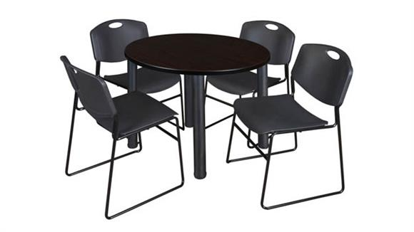 "Cafeteria Tables Regency Furniture 42"" Round Breakroom Table- Mocha Walnut/ Black & 4 Zeng Stack Chairs"