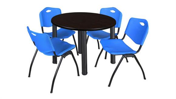 "Cafeteria Tables Regency Furniture 42"" Round Breakroom Table- Mocha Walnut/ Black & 4"