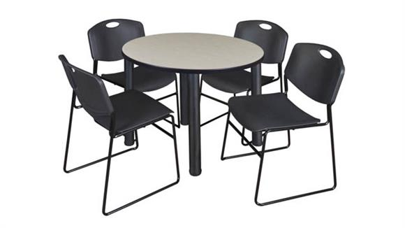 "Cafeteria Tables Regency Furniture 42"" Round Breakroom Table- Maple/ Black & 4 Zeng Stack Chairs"