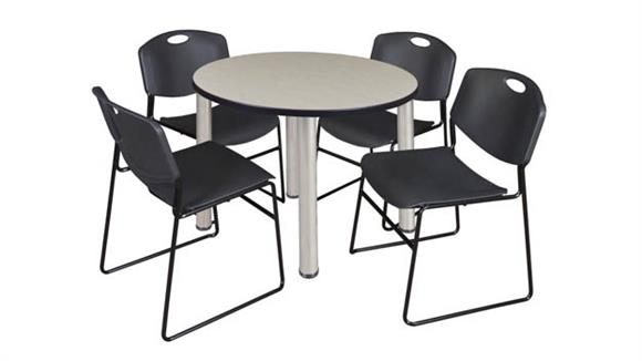 "Cafeteria Tables Regency Furniture 42"" Round Breakroom Table- Maple/ Chrome & 4 Zeng Stack Chairs"