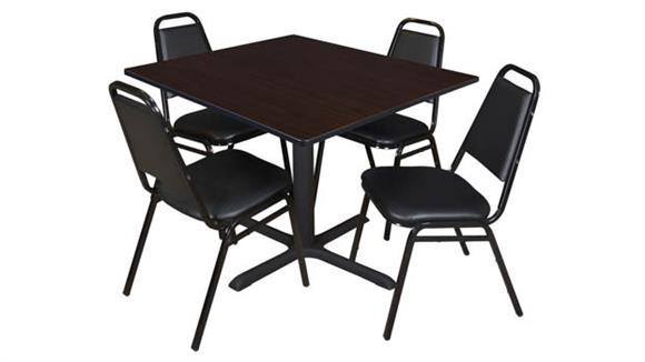 """Cafeteria Tables Regency Furniture 48"""" Square Breakroom Table- Mocha Walnut & 4 Restaurant Stack Chairs"""