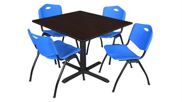 "Cafeteria Tables Regency Furniture 48"" Square Breakroom Table- Mocha Walnut & 4"