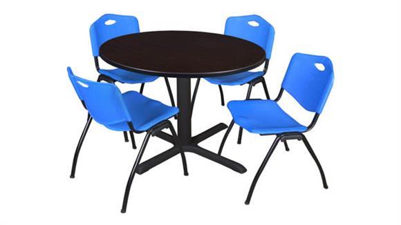 "Cafeteria Tables Regency Furniture 48"" Round Breakroom Table- Mocha Walnut & 4"