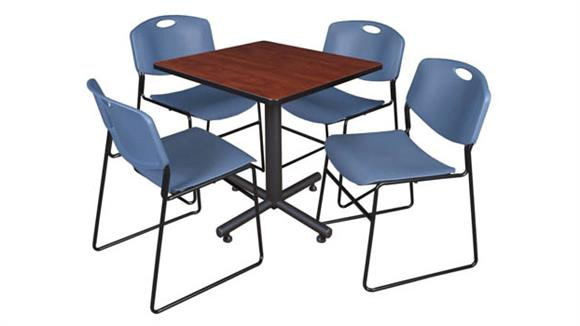 "Cafeteria Tables Regency Furniture 30"" Square Breakroom Table- Cherry & 4 Zeng Stack Chairs"