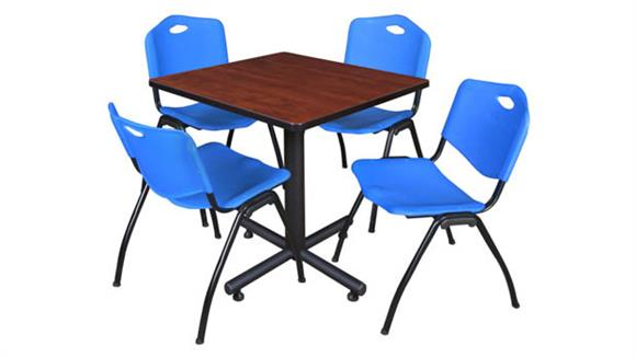 "Cafeteria Tables Regency Furniture 30"" Square Breakroom Table- Cherry & 4"