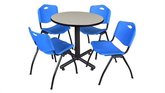 "Cafeteria Tables Regency Furniture 30"" Round Breakroom Table- Maple & 4"