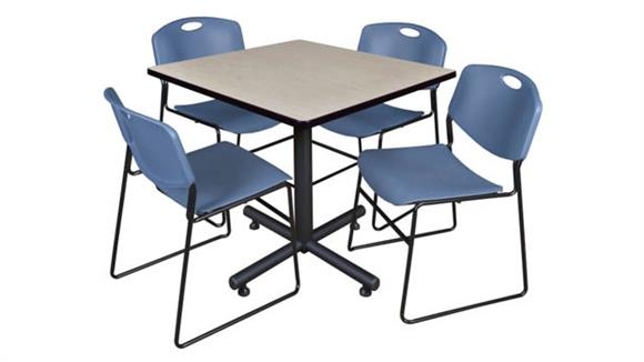 "Cafeteria Tables Regency Furniture 36"" Square Breakroom Table- Maple & 4 Zeng Stack Chairs"