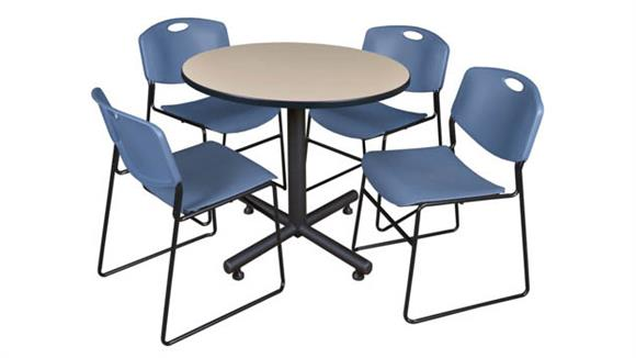 "Cafeteria Tables Regency Furniture 36"" Round Breakroom Table- Beige & 4 Zeng Stack Chairs"