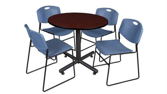 "Cafeteria Tables Regency Furniture 36"" Round Breakroom Table- Mahogany & 4 Zeng Stack Chairs"
