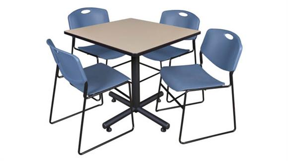 "Cafeteria Tables Regency Furniture 42"" Square Breakroom Table- Beige & 4 Zeng Stack Chairs"