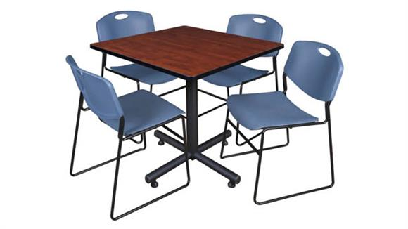"Cafeteria Tables Regency Furniture 42"" Square Breakroom Table- Cherry & 4 Zeng Stack Chairs"