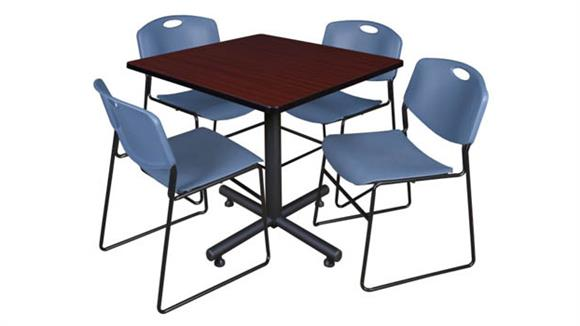 "Cafeteria Tables Regency Furniture 42"" Square Breakroom Table- Mahogany & 4 Zeng Stack Chairs"