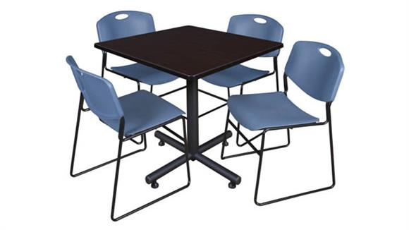 "Cafeteria Tables Regency Furniture 42"" Square Breakroom Table- Mocha Walnut  & 4 Zeng Stack Chairs"
