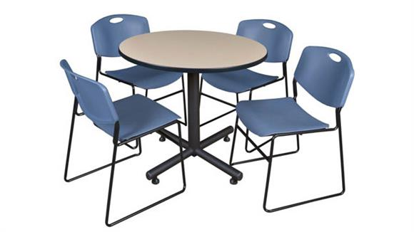 "Cafeteria Tables Regency Furniture 42"" Round Breakroom Table- Beige & 4 Zeng Stack Chairs"
