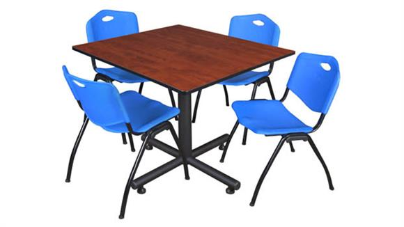 "Cafeteria Tables Regency Furniture 48"" Square Breakroom Table- Cherry & 4"