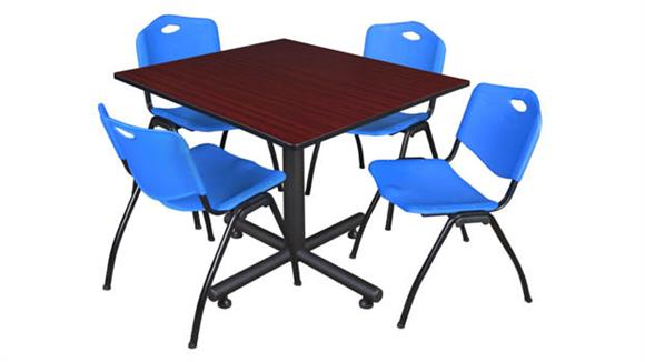 "Cafeteria Tables Regency Furniture 48"" Square Breakroom Table- Mahogany & 4"