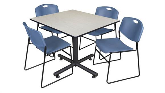 "Cafeteria Tables Regency Furniture 48"" Square Breakroom Table- Maple & 4 Zeng Stack Chairs"