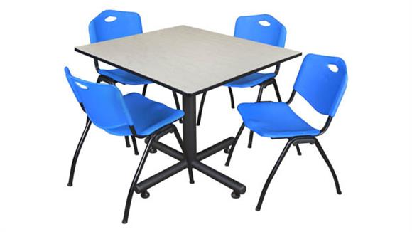 "Cafeteria Tables Regency Furniture 48"" Square Breakroom Table- Maple & 4"