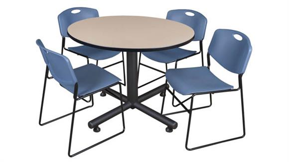 "Cafeteria Tables Regency Furniture 48"" Round Breakroom Table- Beige & 4 Zeng Stack Chairs"