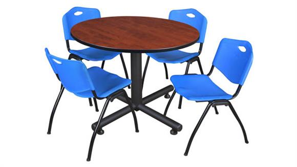 "Cafeteria Tables Regency Furniture 48"" Round Breakroom Table- Cherry & 4"