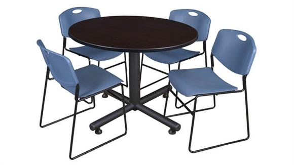 "Cafeteria Tables Regency Furniture 48"" Round Breakroom Table- Mocha Walnut  & 4 Zeng Stack Chairs"