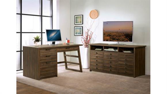 Computer Desks Riverside Single Pedestal Desk with Entertainment File Cabinet