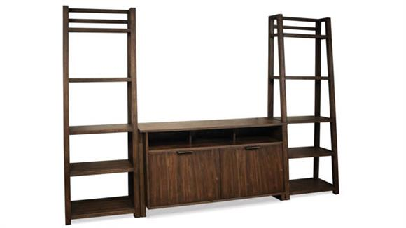 Entertainment Centers Riverside Entertainment Console with 2 Leaning Bookcases
