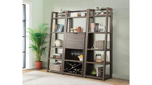 Wine Storage Riverside Bar Cabinet with 2 Leaning Bookcases
