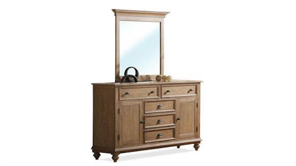 Dressers Riverside Panel Door 5 Drawer Dresser with Mirror