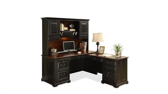 L Shaped Desks Riverside L Shaped Computer Desk with Hutch