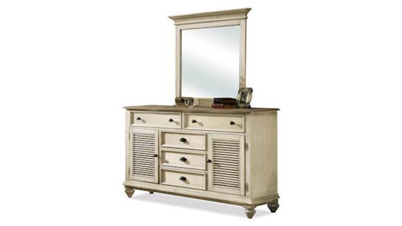 Dressers Riverside Shutter Door 5 Drawer Dresser with Mirror