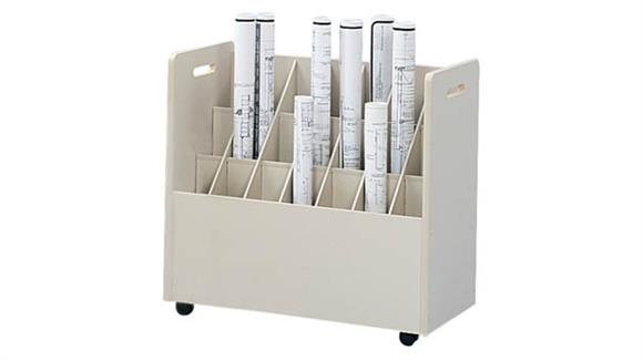 Media Storage Safco Office Furniture Mobile Roll File, 21 Compartment