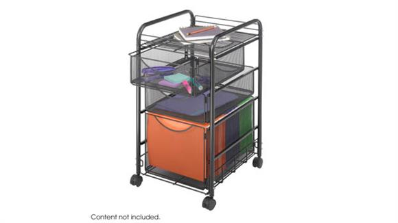 Mobile File Cabinets Safco Office Furniture Onyx™ Mesh File Cart with 1 File Drawer and 2 Small Drawers