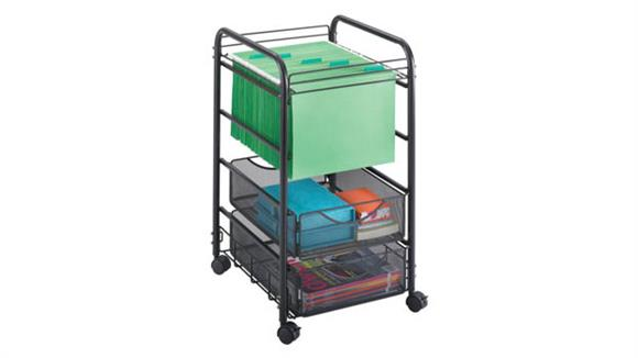 Mobile File Cabinets Safco Office Furniture Onyx™ Mesh Open File with 2 Drawers