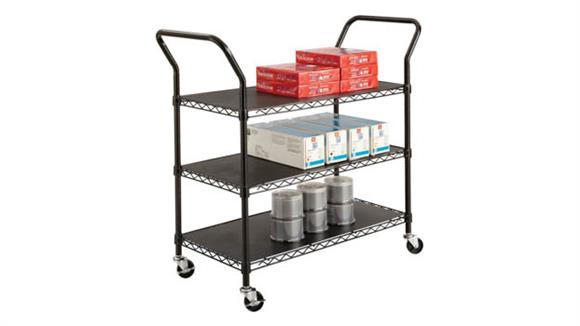 Utility Carts Safco Office Furniture Wire Utility Cart - 3 Shelves